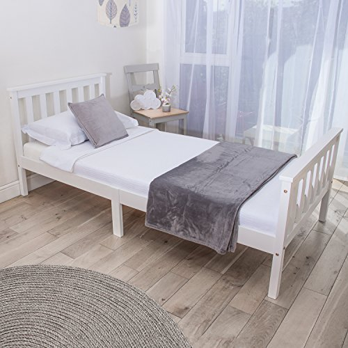 Home Treats Single Bed In White 3ft Solid Wooden Frame For Adults, Kids, Teenagers