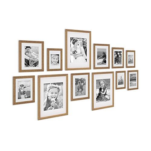 12er Bilderrahmen-Set Modern Tief Eiche Massivholz mit Passepartout / 10x15 13x18 15x20 und 21x30 cm / Fotorahmen / Portraitrahmen / Wechselrahmen