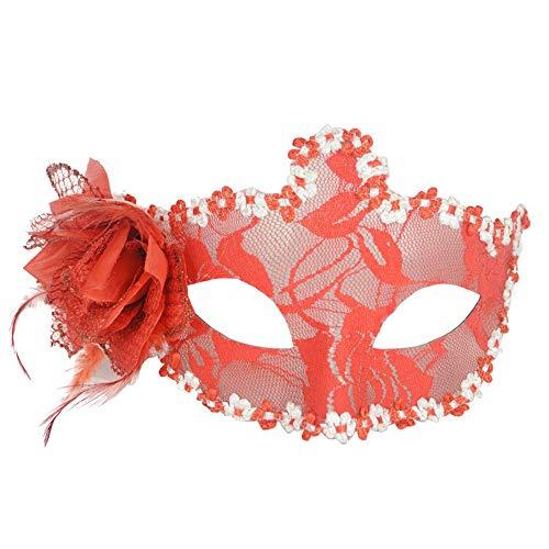 Kind Kostüm Gaze Zombie - KiyomiQvQ Venezianische Maske Augenmaske mit Spitze und Federverzierung - Damen - Maskenball Fasching Karneval -Mehrfache Farben Halloweenmaske Cosplay Dekoration Kostüm Karneval Masquerade