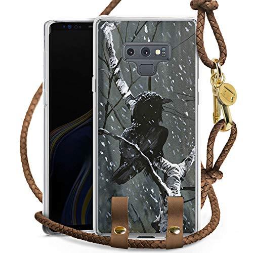 e kompatibel mit Samsung Galaxy Note 9 Hülle zum Umhängen Handykette Raven Rabe Forest ()