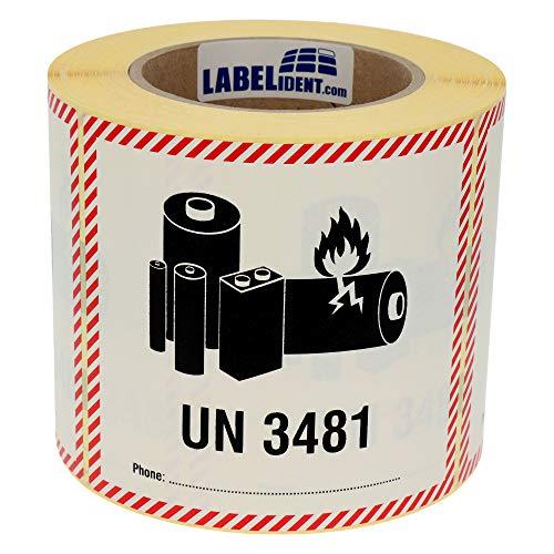 Labelident Transportaufkleber - enthält Lithium Ionen Batterien UN 3481-120 x 110 mm - 500 Verpackungskennzeichen auf 76 mm (3 Zoll) Rolle, Polyethylen selbstklebend