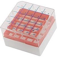 Cuadrado rojo plástico claro 25 ranuras de la caja de almacenaje criovial