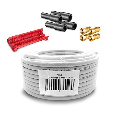 HD Sat Kabel 50 m Koaxialkabel 135 dB + Kabelmesser + 4 x F Stecker vergoldet + 4x Gummitülle Koaxial 5 fach geschirmt Satkabel TV Antennenkabel Koax 4K F-Stecker gold ARLI 50 Tv Kabel