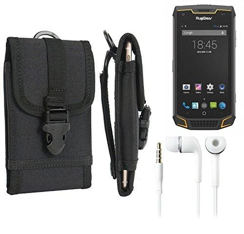K-S-Trade Schutzhülle für Ruggear RG740 Gürteltasche Gürtel Tasche extrem Robuste Handy Schutz Hülle Tasche Outdoor Handyhülle schwarz + Kopfhörer