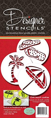Designer Schablonen C360Beach Cookies Schablonen (Flip Flops, Palme, Regenschirm), beige/halbtransparent