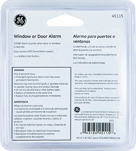 General Electric Wireless Personal Window/Door Alarm for Security (White) - Pack of 2