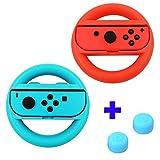 QUMOX Custodia portacontrollo della manopola del manubrio del manubrio della manopola del regolatore di sterzo - azzurro rosso / azzurro e del pollice del bastone del grip - azzurro per l'interruttore di Nintendo Joy-Con