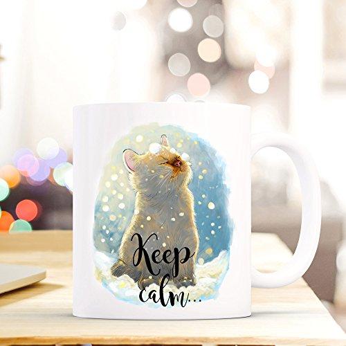 ilka parey wandtattoo-welt® Tasse Becher Kaffeetasse Kaffeebecher Katze Katzentasse mit Schneeflocken und Spruch Sprichwort Keep calm... and believe in magic ts406