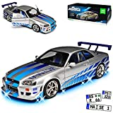 Greenlight Nissan Skyline R34 GT-R mit Beleuchtung Silber 1998-2002 Brian O Connor Fast and Furious 1/18 Modell Auto