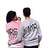 Meridiaga Herbst Liebespaar Casual Pulli Pullover Crew Neck Sweatshirt Shirt Oberteil Tops mit MR MRS Druck (S, Damen & Rosa)