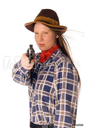 druck-shop24 Wunschmotiv: Smiling Cowgirl with Gun aim at Someone #7332588 - Bild auf Forex-Platte - 3:2-60 x 40 cm / 40 x 60 cm