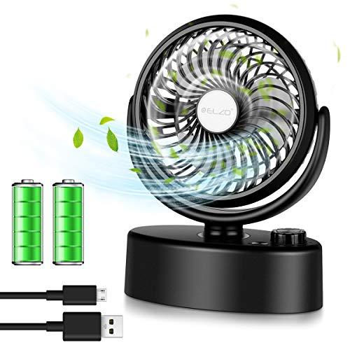 ELZO Mini Tischventilator, USB Ventilator, Automatische Oszillierend Desktop Lüfter mit 4800mAh Batterie, Schreibtischventilator perfekt für Zuhause, Büro, Schule - Shwarz