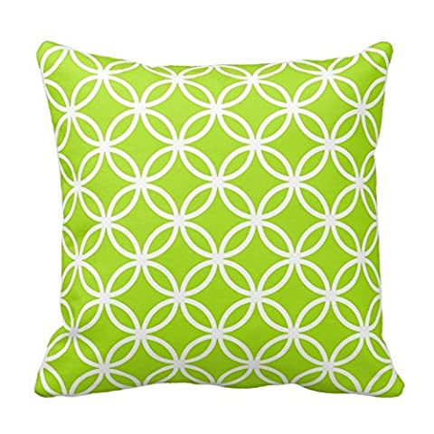 Lime Green and White Circles Pattern Throw Pillow Case Cushion Cover Square Decorative 18X18 Inches Two Sides