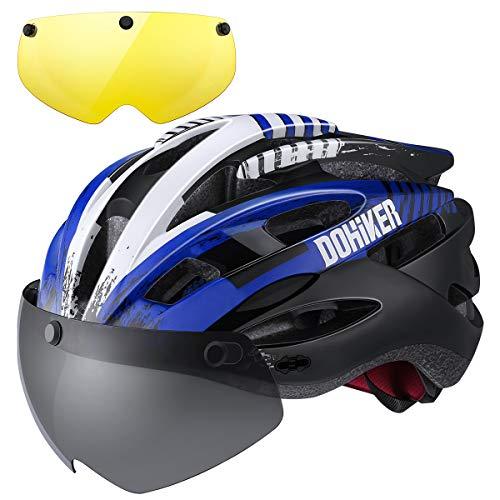 Dohiker  Fahrradhelm All Round Helm 59 bis 23cm Erwachsener Bike Helm Radhelm mit Schwarz&Gelb Brillen Abnehmbarer Visier für Damen und Herren (Schwarz&Blau)