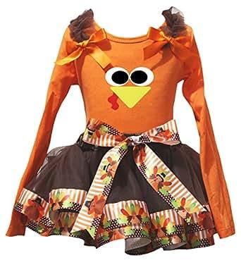 Petitebella 1st Turkey Thanksgiving White Shirt Orange Brown Petal Skirt Nb-8y