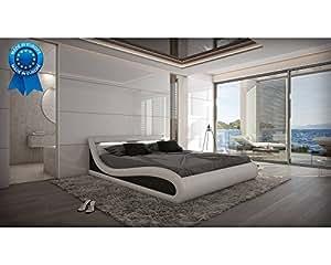 Lit design lumineux blanc Calogera 160cmx200cm Avec matelas MEMOIRE REVELUXE Avec sommier