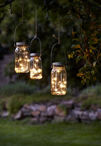 Kamaca Evening Sun - Tarro de Cristal Solar con Cadena de Luces LED con 10 Puntos de luz y Sensor crepuscular para Colgar o Colocar