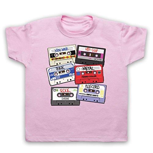 My Icon Art & Clothing Cassette Tapes Retro Mix Tape Camiseta para Niños, Rosa Claro, 2-3 Años