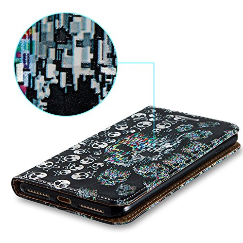 iPhone 7 Plus 5.5 Cover a Libro,iPhone 8 Plus 5.5 Cover Portafoglio,BtDuck Morbido Slim Cover Flip Magnetica Custodia Pelle Borsa e Portafoglio Tasca Progettato Morbido Silicone Back Case Bumper Case  7 Plus/8 Plus 5.5-Scheletro