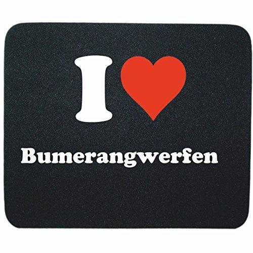 """Exklusive Geschenkidee: Mauspad """"I Love Bumerangwerfen"""" in Schwarz, eine tolle Geschenkidee die von Herzen kommt- Rutschfestes Mousepad- Weihnachts Geschenktipp"""