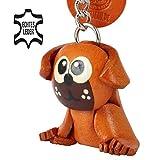 Monkimau Mops Hund-e Schlüssel-Anhänger Leder Schmuck Artikel Deko Figur Zubehör