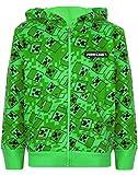 Vanilla Underground Maglione con Cappuccio per Bambini Minecraft Creeper Green Zip Up Hoodie