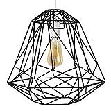 MiniSun – Großer Lampenschirm im geometrischen Retrostil mit einem schwarzen Finish und einem Körbchendesign – für Hänge-/Pendelleuchte