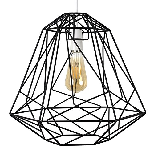 MiniSun - Pantalla para lámpara de techo Okko, de jaula vintage - gran tamaño
