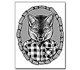 Poster Illustration --- Fuchs in Flanell --- Schwarz Weiss Hipster Fox Typografie