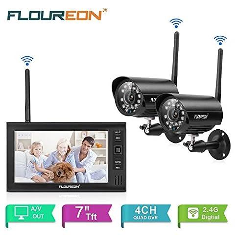 FLOUREON Videoüberwachung 7 Zoll LCD 4CH DVR Recorder 2.4GHz WIFI