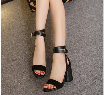 GS~LY Damen Schuhe high Heels Sandalen öffnen Zehe grob mit einer Schnalle Sandalen Black