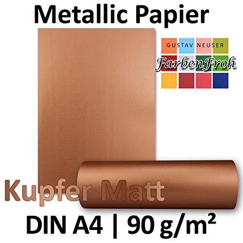 Metallic Papier DIN A4   Kupfer-Matt Metallic   50 Stück   glänzendes Bastelpapier mit 90 g/m²   Rückseite Weiß   Ideal für Einladungen, Hochzeiten, Bastelarbeiten oder Besondere Briefe