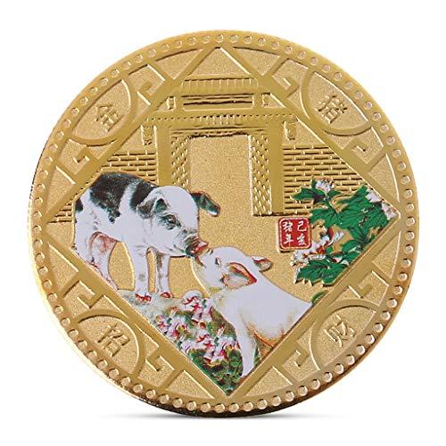 Lamdoo Porcins commémorent la Collection de pièces de Monnaie en Relief Plaqué Or, Nouvel an, Souvenir de Vœu