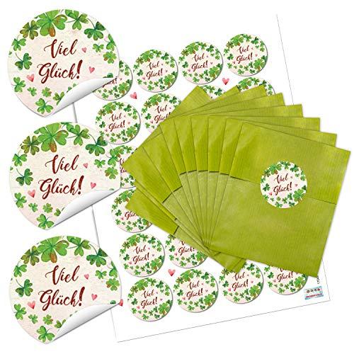Logbuch-verlag 24 sacchetti di carta verdi, 9,5 x 14 cm + 24 adesivi a forma di quadrifoglio rosso per regalo give-away