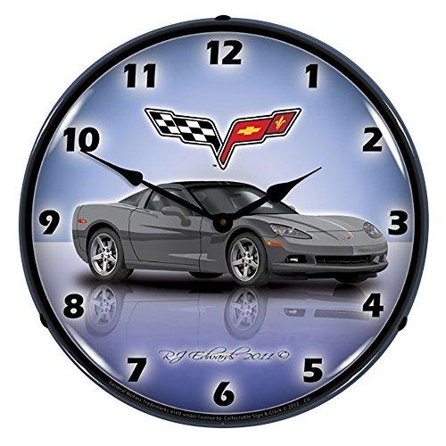 Collectable Sign and Clock C6 Corvette Cyber-Wanduhr, beleuchtet, Grau - Neon Clock-garage Sign