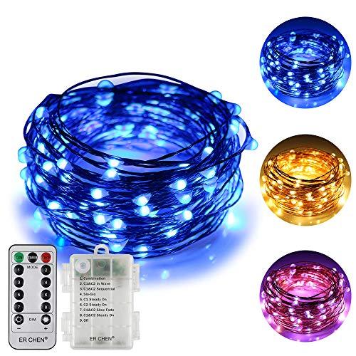 (ErChen Batteriebetriebene zweifarbige LED-Lichterketten, 33FT 100 LEDs Farbwechsel Dimmbar 8 Modi Kupferdraht-Lichterkette mit Fernauslöser für Indoor-Outdoor-Weihnachten (warmes Weiß, Blau))