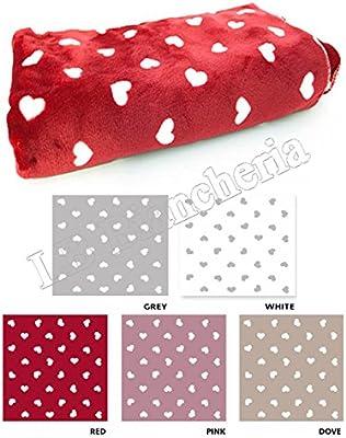 R.P. - Manta de forro polar para cama de matrimonio, 160 x 210 cm, diseño de corazones