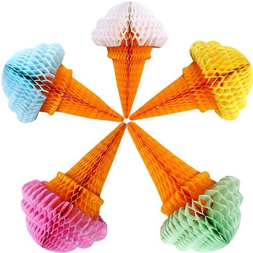 Yalulu 5 x Tissue Papier Pom Poms Waben Bälle Papier Ice Cream Eis Tropfen Papier Laternen Set Kit für Hochzeit, Geburtstag, Baby-Dusche und Home Decoration (Kugeln Blau-waben-gewebe)