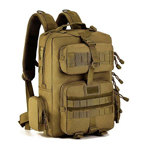 Huntvp® 30L Taktisch Rucksack Molle Wanderrucksack Militär Trekkingrucksack Nylon Armee Rucksack Wasserdicht Tasche Sporttasche Daypack für Wandern Camping Bergsteigen Freizeit - Braun