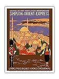 Simplon Orient Express - Londres-Constantinople - Paris-Lyon-Méditerranée (PLM) - Affiche ancienne vintage poster de voyage en train chemin de fer de Roger Broders c.1922 - Reproduction Professionelle d'art Master Art Print - 23cm X 31cm...