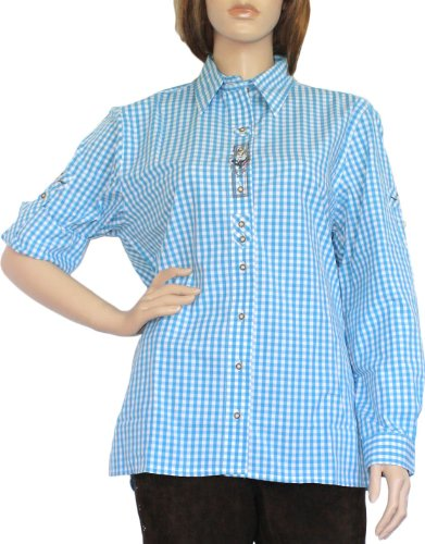 Trachtenbluse Damen Trachten lederhosen-bluse Trachtenmode türkis kariert, Größe:44
