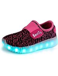 Santiro Unisex muchacha de los muchachos de La carga del USB LED de luz luminosa zapatilla de deporte