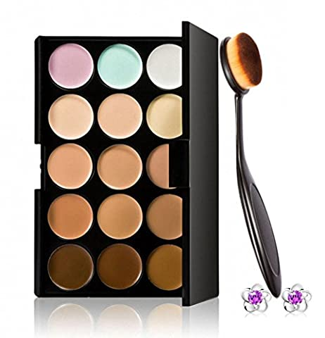 Tonsee Pro Cosmetic Makeup Brush Face Powder Blusher Toothbrush Curve Brush Foundation + 15 Colors
