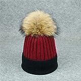 Farbabstimmung Kaschmir Cap Kabel Bobble Hut Slouchy Beanie Hüte Mit Kunstfell Cap Für Frauen Mädchen,I