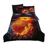 Stillshine Housse de Couette et Taie d'oreiller Parure de lit 3D Football Basketball Impression Enfant Garçon Les jeunes Parure...