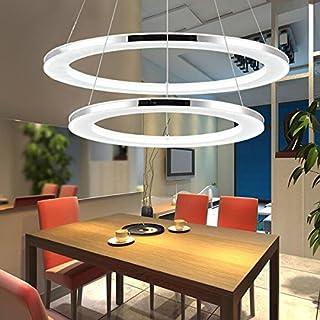 KJLARS Pendelleuchte LED Acryl-Anhänger Edelstahl Hängelampe Höhenverstellbar Küchen Deckenleuchte Modern Wohnzimmer Pendellampe (Weiß)