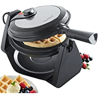 VonShef 1000W Rotating Waffle Maker with 20cm Non-Stick Plates Adjustable Temperature Control - Stainless Steel