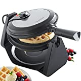 VonShef Waffle Maker | Rotating Waffle Iron with Adjustable Temperature Control and Non-Stick
