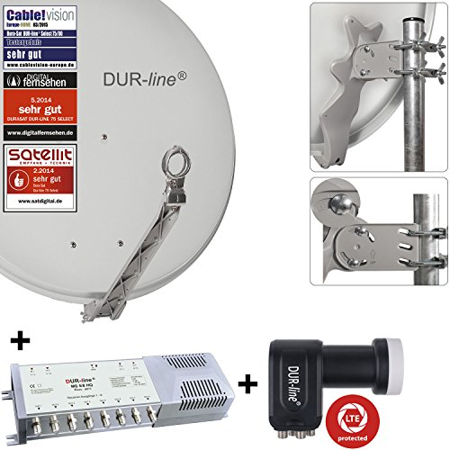 """DUR-line 8 Teilnehmer Set - Qualitäts-Alu-Sat-Anlage """"DVB-T2 Alternative"""" """"DVB-T2 Alternative"""" - Select 75/80cm Spiegel/Schüssel Hellgrau + DUR-line Multischalter + LNB - Satelliten-Komplettanlage - für 8 Receiver/TV [Neuste Technik - DVB-S/S2, Full HD, 4K/UHD, 3D]"""