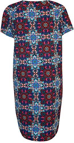 WearAll - Übergröße Womens drucken Crepe Short Sleeve Top Damen Dip Hem Kleid - 2 Farben - Übergröße Größen 42-56 Türkis Cerise